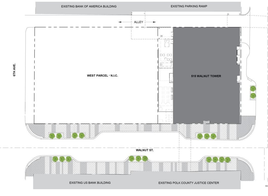 Des Moines-based Blackbird Investments plans a 33-story apartment tower at 515 Walnut St. A second phase on the western side of the site is also planned, though details haven't been released.