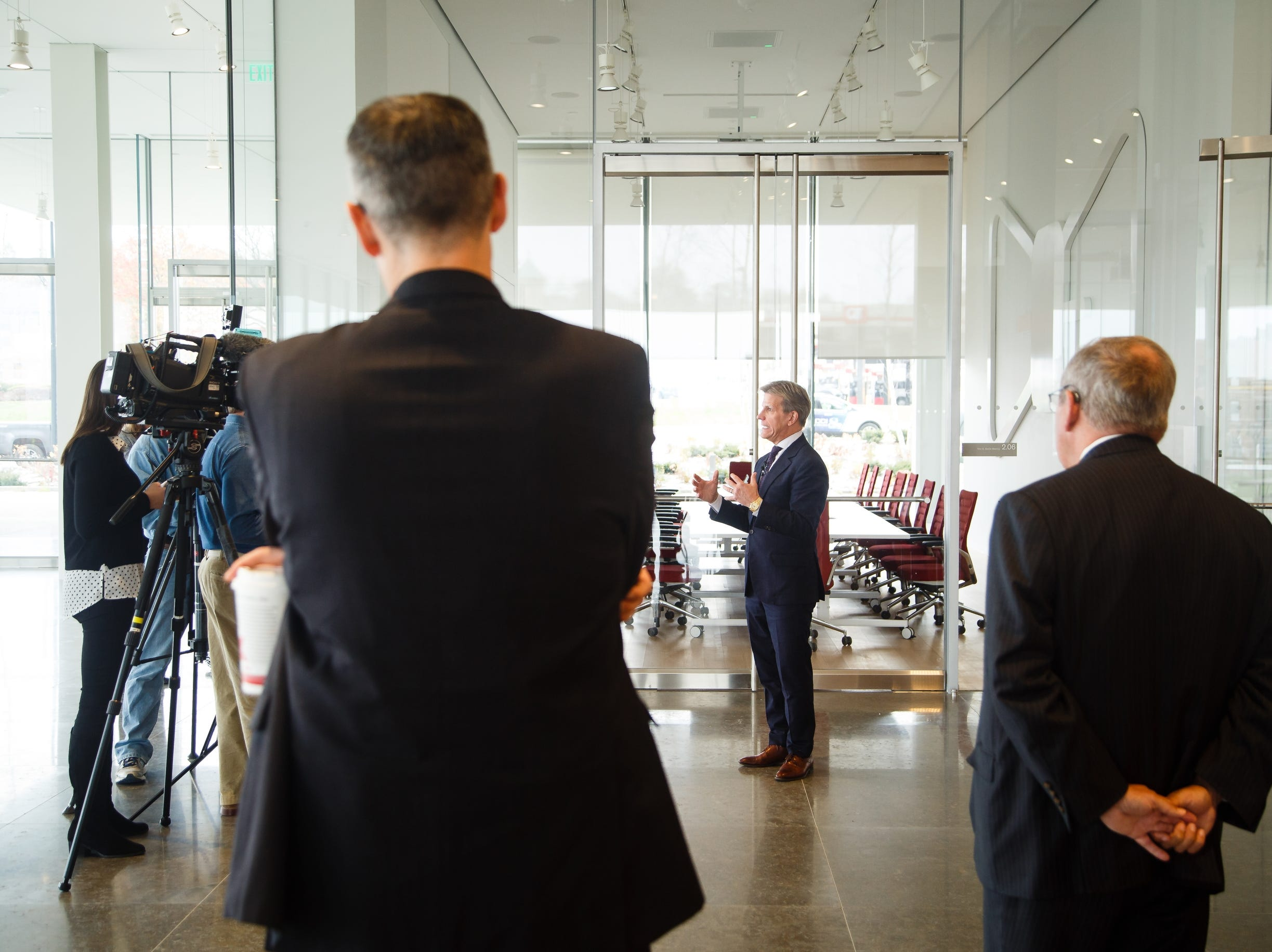 Kum and Go CEO Kyle Krause answers questions from the press inside the new Krause Gateway Center downtown on Friday, Nov. 9, 2018, in Des Moines.