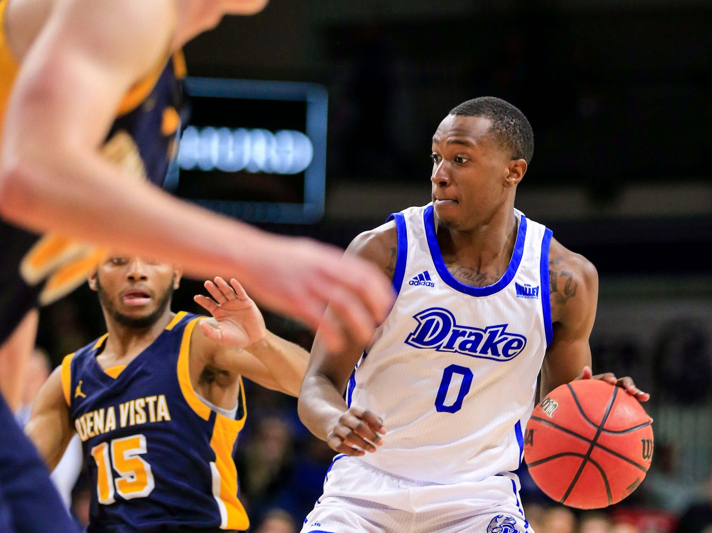 D.J. Wilkins of Drake drives to the basket during a game against Buena Vista at the Knapp center Thursday, Nov. 8, 2018.