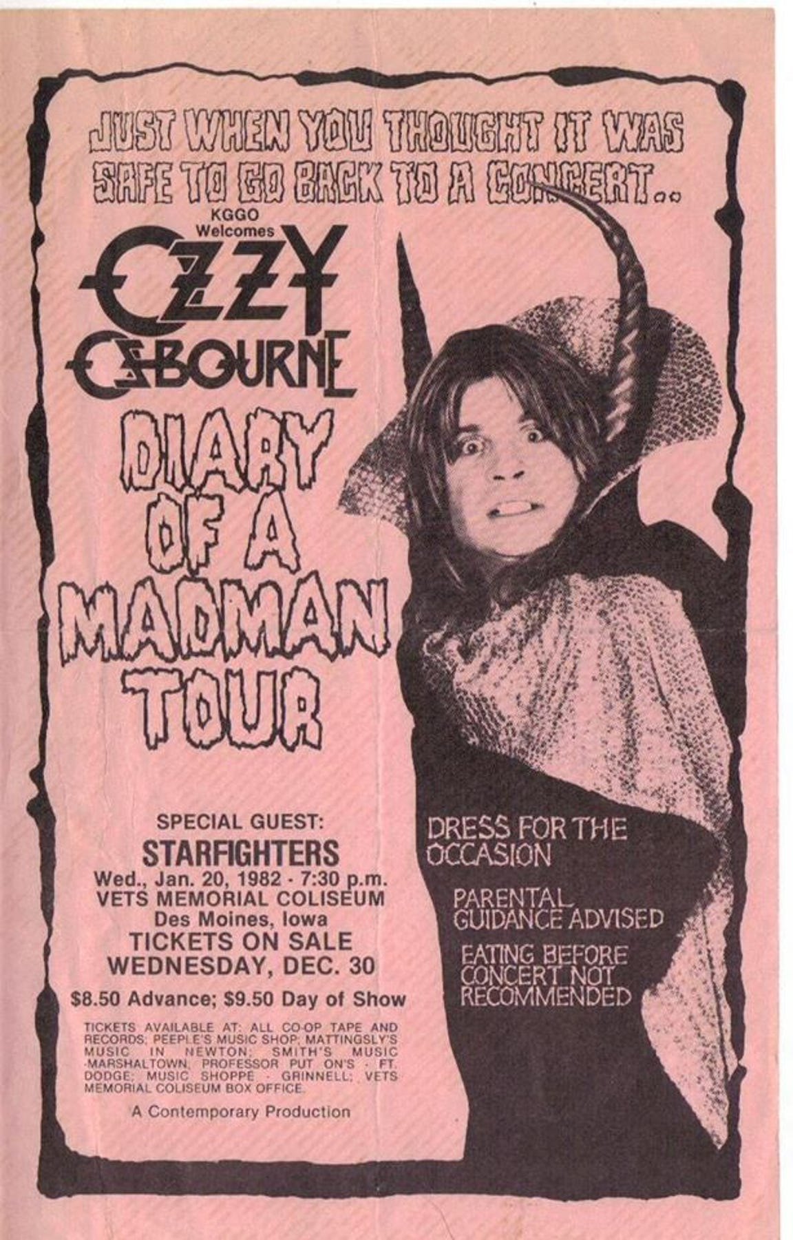 A handbill used to promote the Jan. 20, 1982, Ozzy Osbourne show in Des Moines, Iowa.