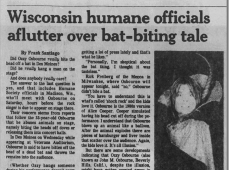 A Jan. 22, 1982 Des Moines Tribune press clipping regarding Ozzy Osbourne's infamous bat-biting incident in Des Moines.