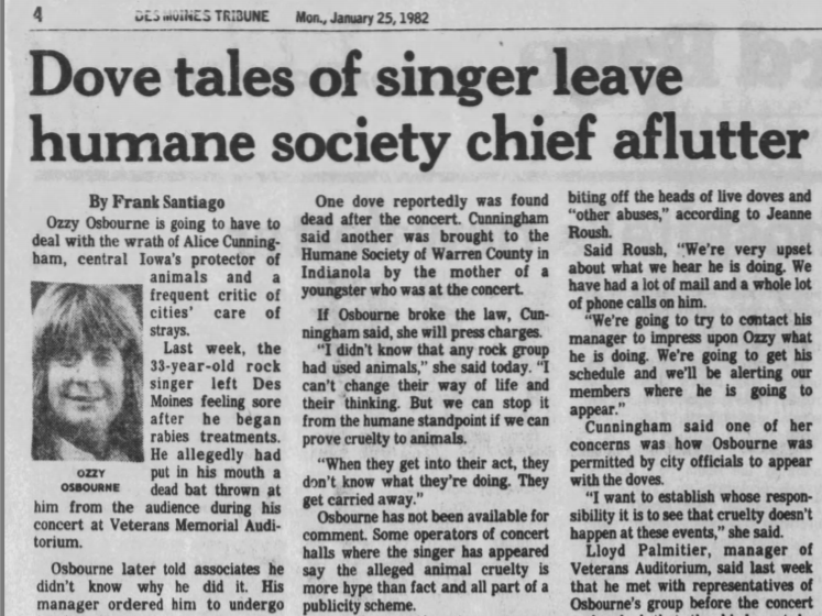 A Jan. 25, 1982 Des Moines Tribune press clipping regarding Ozzy Osbourne's infamous bat-biting incident in Des Moines.
