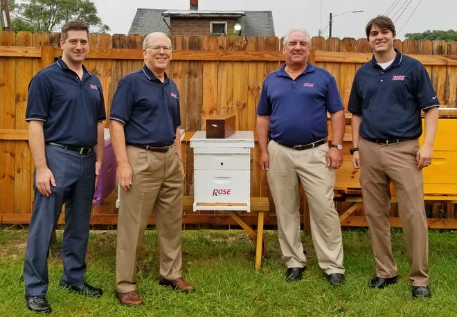 This year Rose Pest Solutions sponsored Detroit Hives, a non-profit urban honey bee farm located in Detroit.  Pictured with one of the sponsored hives are the 3rd and 4th generation owners of Rose: (L-R) Jeff Ives, Russ Ives, Jim Ives, Case Ives.