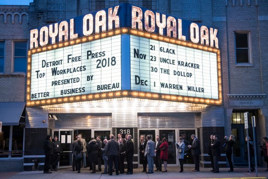 Attendees line up outside during 2018 Top Workplaces awards ceremony at the Royal Oak Music Theatre in Royal Oak, Nov. 8, 2018.