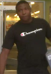 Waterford police seek this unnamed suspect, who was last seen in a black Champion T-shirt.