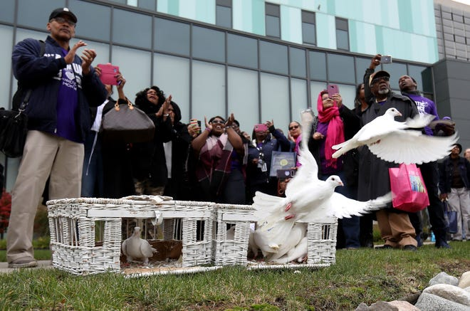 People who attended a domestic violence seminar held at the Detroit Public Safety Headquarters in Detroit on Friday, October 26, 2018, take pictures of a white dove release. The homing pigeon and dove hybrid birds were from Dreamers White Dove Release a family business in Saginaw. The birds will make a make their two hour flight back home.
