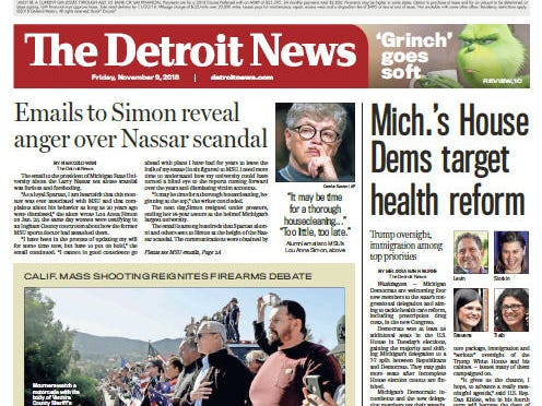 The front page of The Detroit News on Friday, November 9, 2018