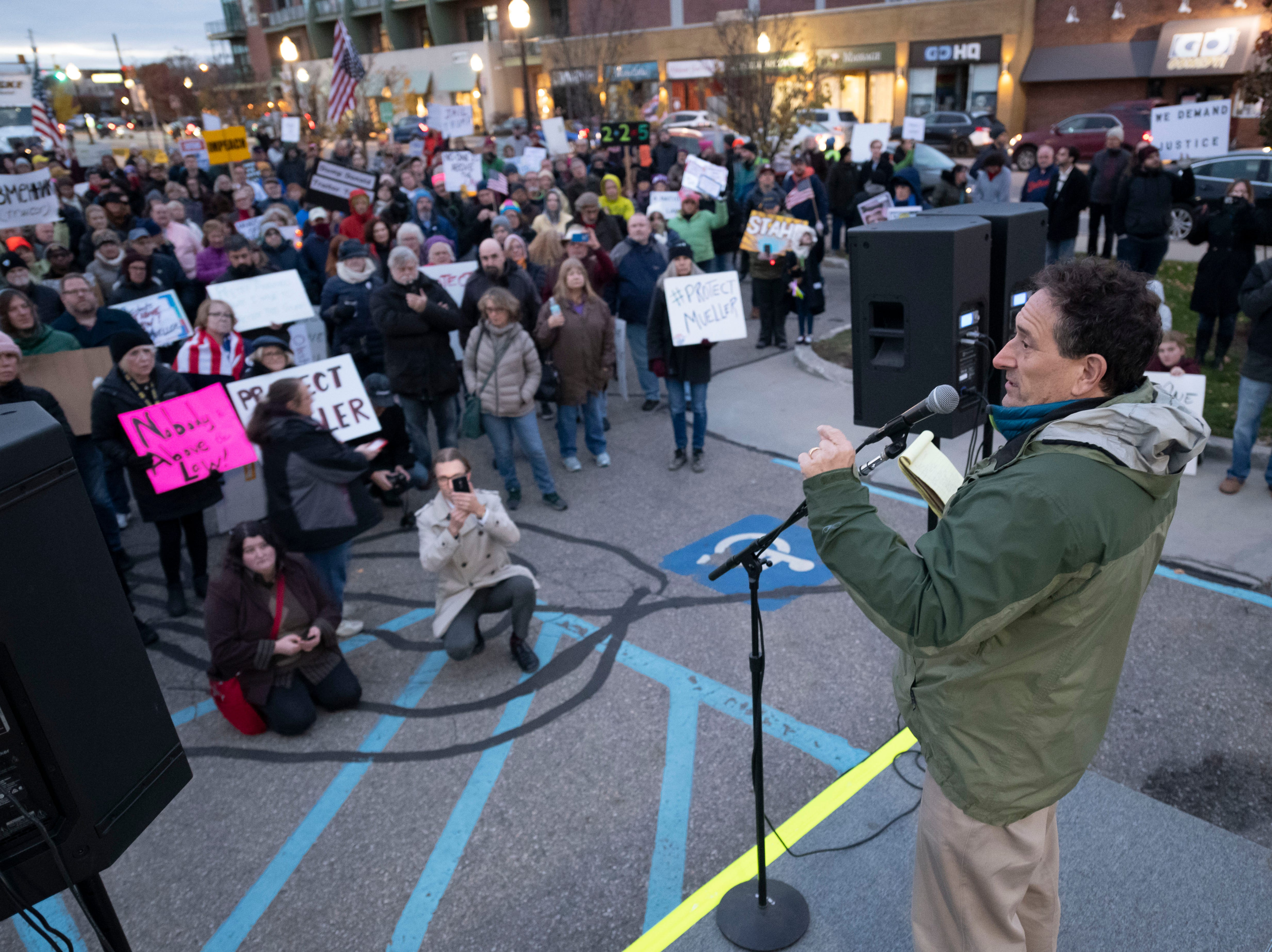 Congressman-elect Andy Levin speaks during a protest at Ferndale City Hall to demand that Special Counsel Robert Mueller's investigation be protected.