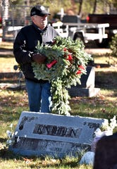 Lake City's Bob Bloomfield, 72, searches for veteran's graves to place a wreath at the Lake City Cemetery, Oct. 18, 2018. Memorial wreaths to honor all 1,397 Missaukee County veterans who reside in   the county's  24 cemeteries were honored with wreaths, the third year for the project.