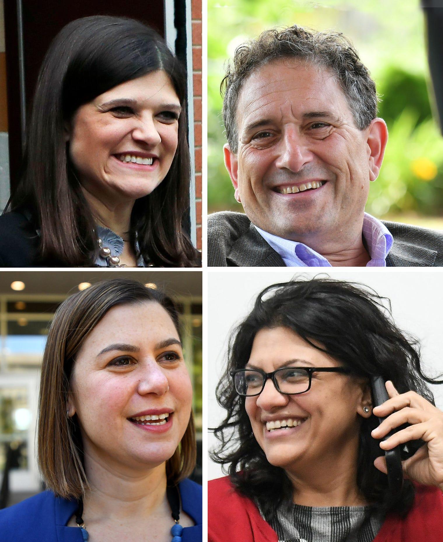 Michigan's new Congress members, clockwise from upper left: Haley Stevens, Andy Levin, Rashida Tlaib, Elissa Slotkin