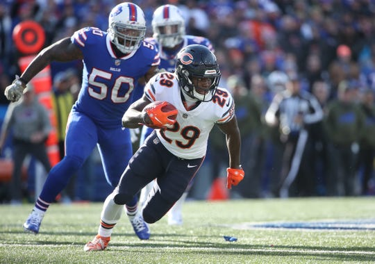 Bears running back Tarik Cohen has more yards receiving (406) than rushing (229) this season. Three of his four touchdowns have come through the air.