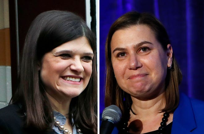 Incoming U.S. Reps. Haley Stevens, D-Rochester Hills, left, and Elissa Slotkin, D-Holly.