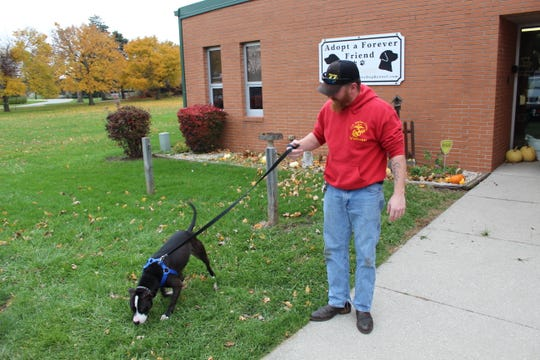 Geoffrey Young walks his adopted pit bull Jackson outside the Sandusky County Dog Warden's Office.