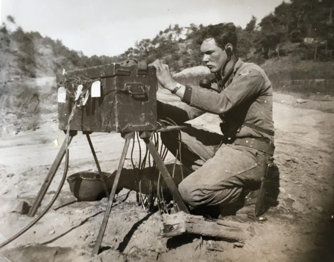 During the Korean War Edward Foose held many jobs, including a pole lineman in communications, a captain's driver, running the post exchange, and painting signs.
