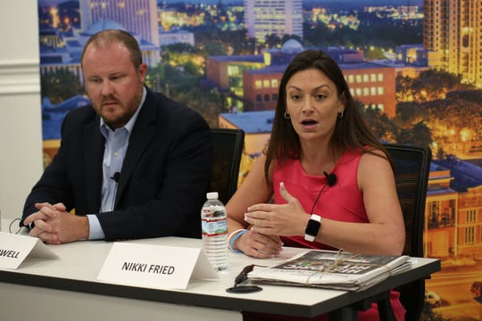 Candidates for Florida Commissioner of Agriculture, Matt Caldwell, left, and Nikki Fried, speak at the editorial board meeting on Friday, Oct. 19, 2018.