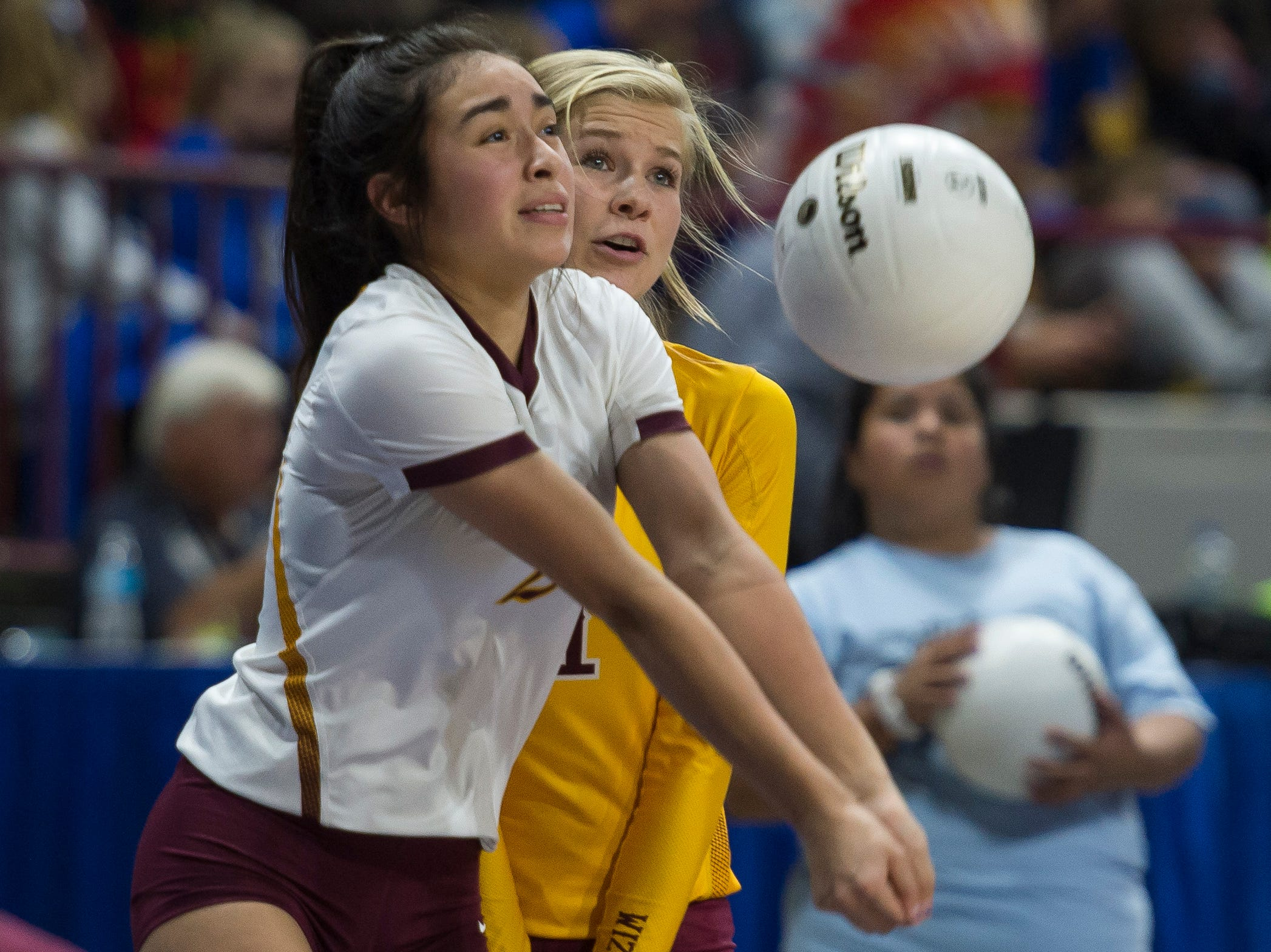 Windsor High School sophomore Ivett Dominguez (2) gains control of a serve during a state first round game against Fossil Ridge High School on Thursday, Nov. 8, 2018, at the Denver Coliseum in Denver, Colo.