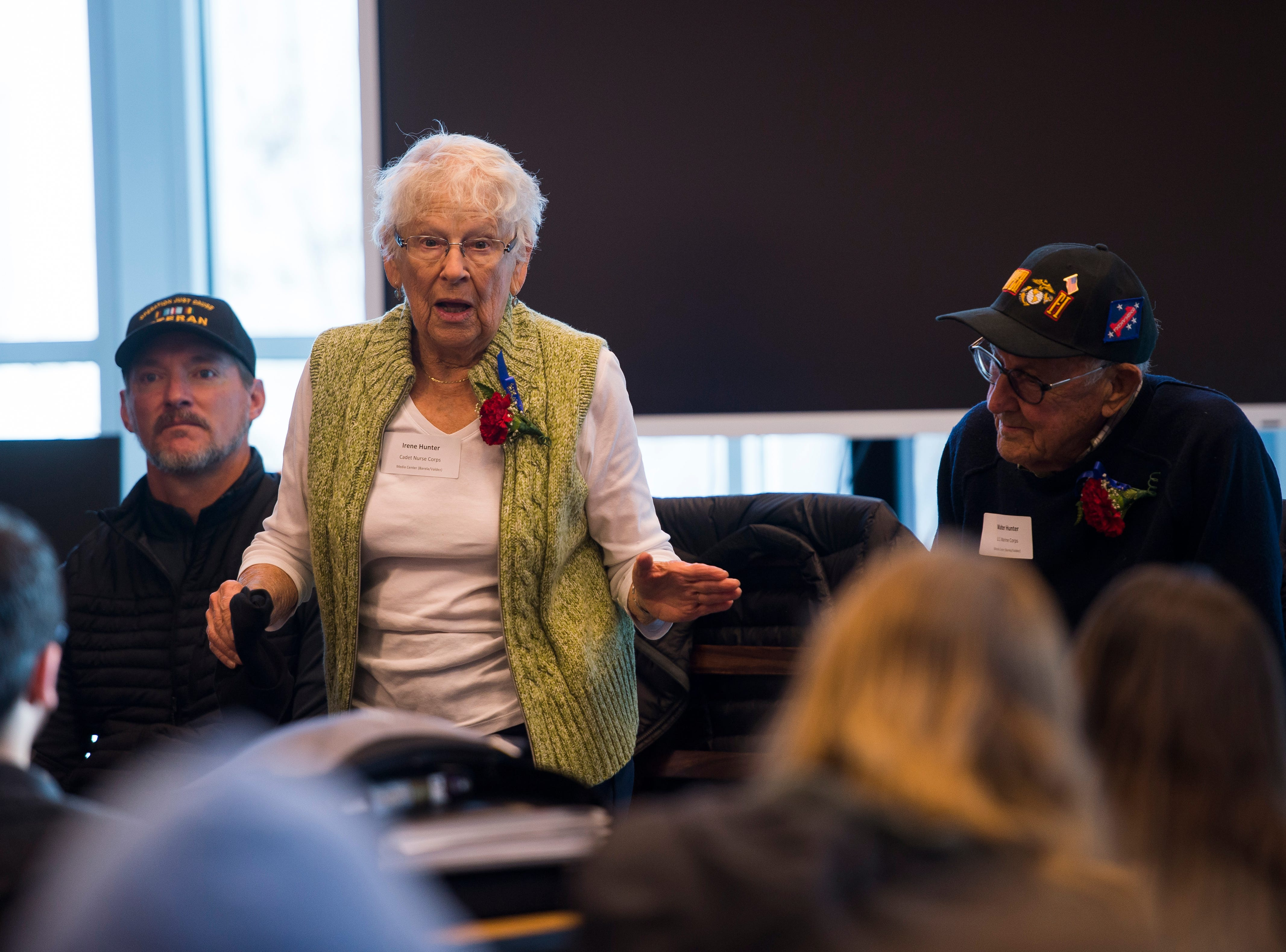 World War II Cadet Nurse Corps veteran Irene Hunter speaks to a class at Preston Middle School's fourth annual Veterans Day Breakfast on Friday, Nov. 9, 2018, at Preston Middle School in Fort Collins, Colo.