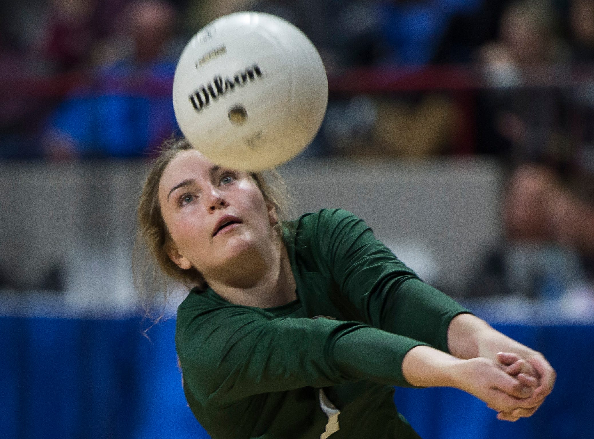 Fossil Ridge High School senior Charlie Durbin (1) controls a volley during a state first round game against Windsor High School on Thursday, Nov. 8, 2018, at the Denver Coliseum in Denver, Colo.