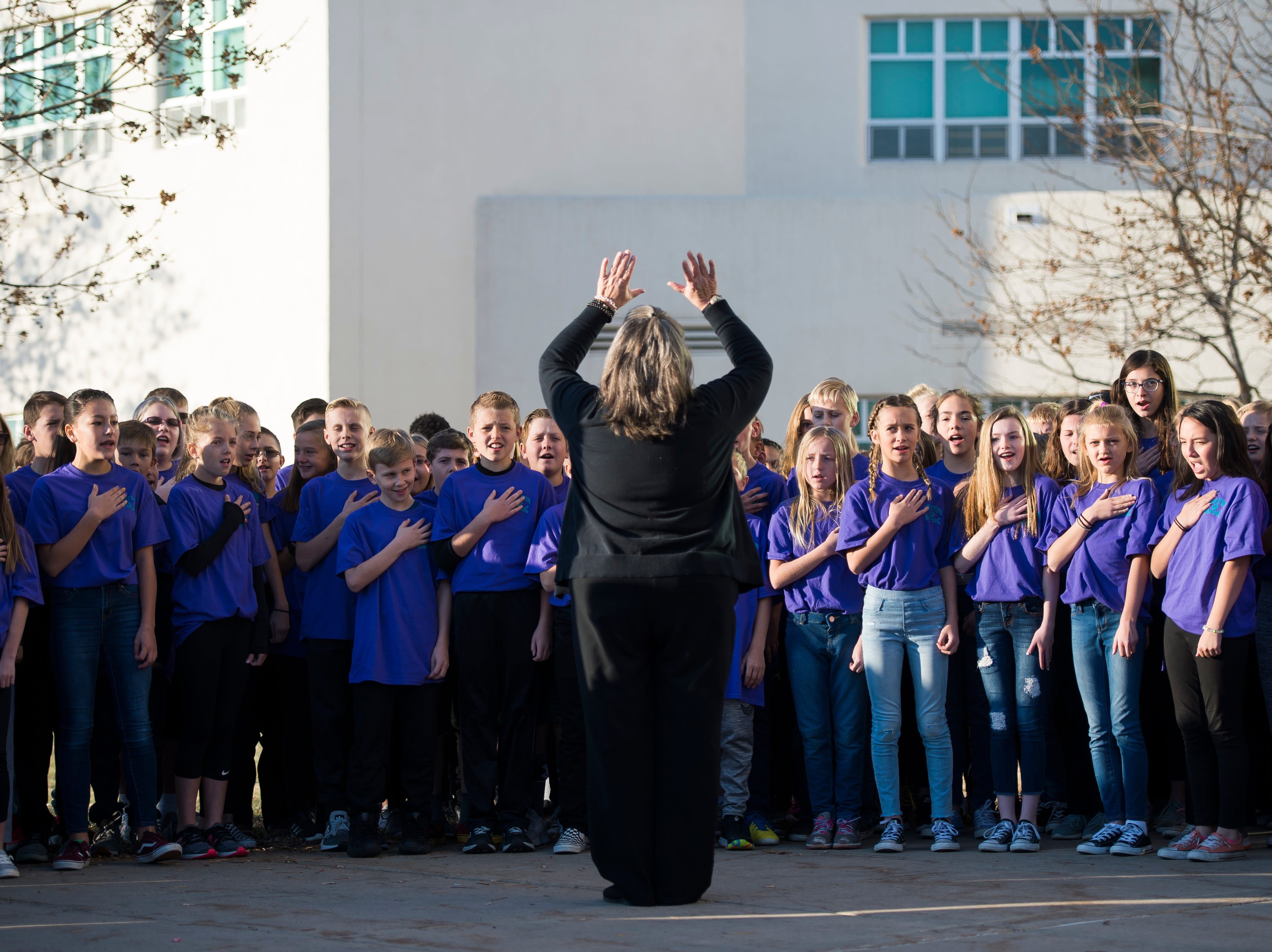"Preston Middle School students sing ""The Star-Spangled Banner"" during  the school's fourth annual Veterans Day Breakfast on Friday, Nov. 9, 2018, at Preston Middle School in Fort Collins, Colo."