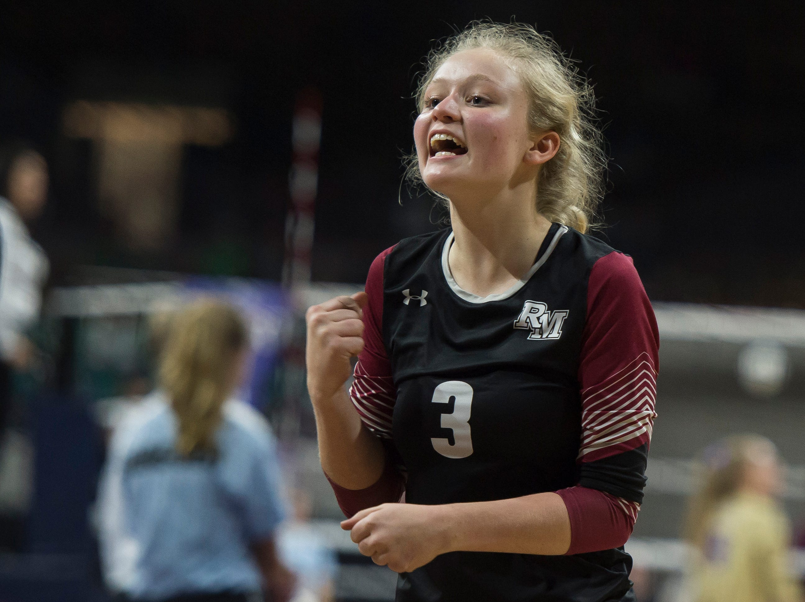 Rocky Mountain High School junior Elly Couch (3) talks to teammates during a first round state game against Eaglecrest on Thursday, Nov. 8, 2018, at the Denver Coliseum in Denver, Colo.