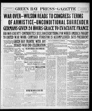 Front page of the Nov. 11, 1918, Green Bay Press-Gazette.