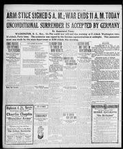 Page 2 of the Press-Gazette on Nov. 11, 1918