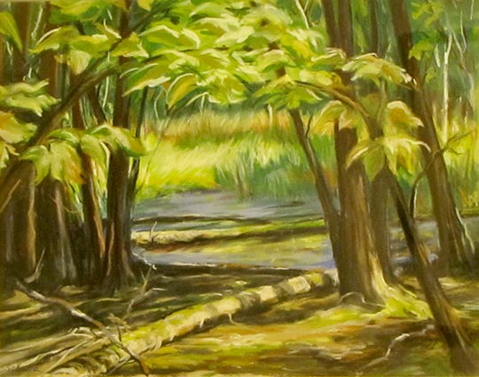 """Ephraim Pond"" by Carol Schalla, part of the ""Celebration"" exhibit at Meadows Art Gallery."