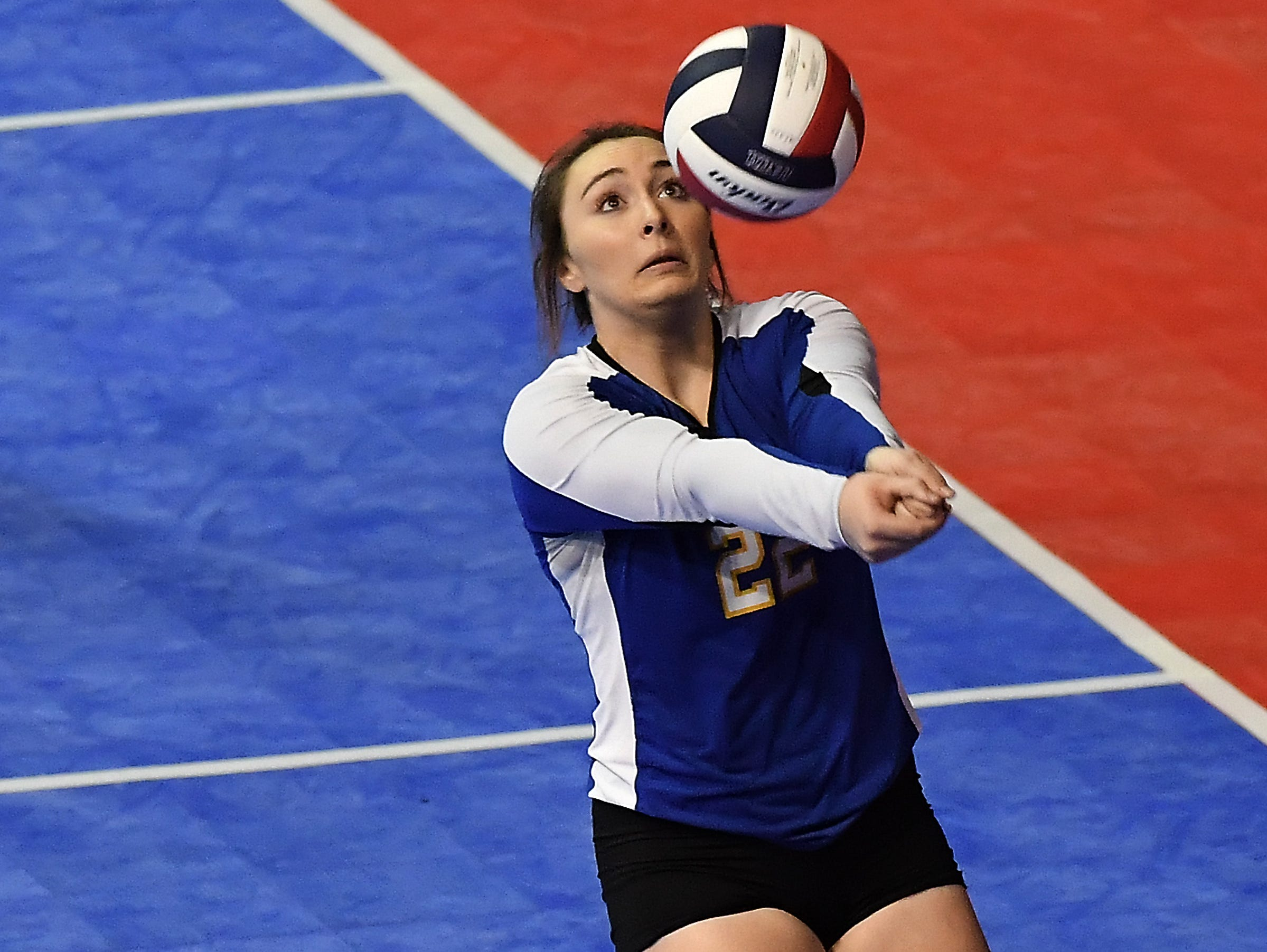 Shaann Danelson of Scobey makes a play on the ball against Ennis at the All-Class State Volleyball Tournament at the Brick Breeden Fieldhouse in Bozeman.