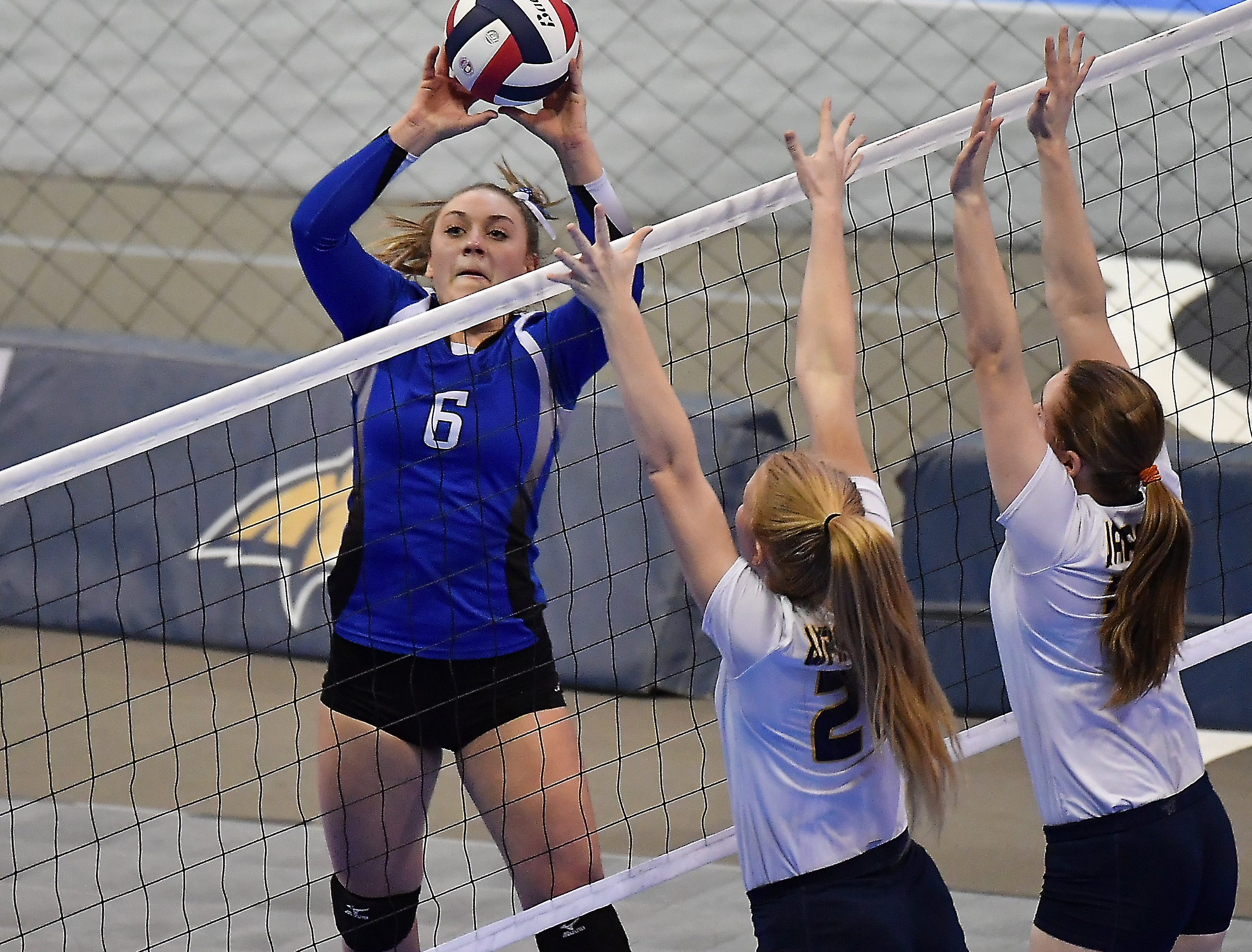 Kenna Pitcher of Fairfield sets during a match with Deer Lodge at the All-Class State Volleyball Tournament at the Brick Breeden Fieldhouse in Bozeman.