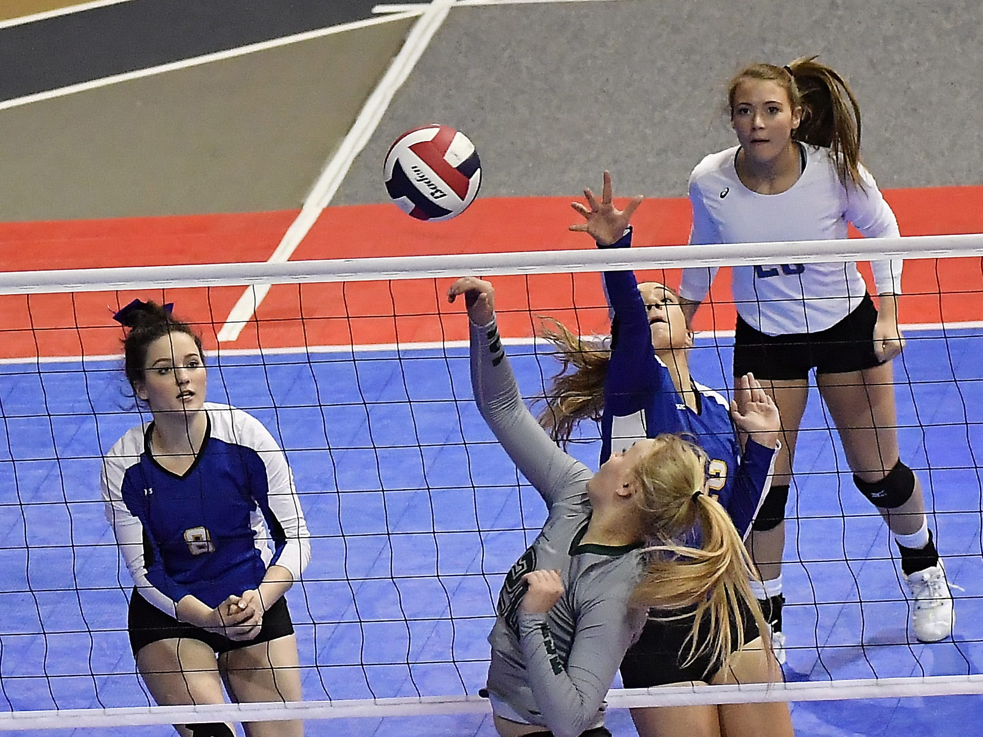 Tri-Cities and Scobey battled it out in a Class C loser-out contest at the All-Class State Volleyball Tournament at the Brick Breeden Fieldhouse in Bozeman Friday.
