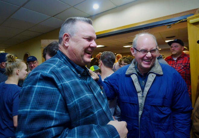 Sen. Jon Tester meets with supporters after announcing his victory Wednesday, Nov. 7, 2018 at the Holiday Inn in Great Falls.  Tester has won a third term in the U.S. Senate by beating Republican Matt Rosendale.