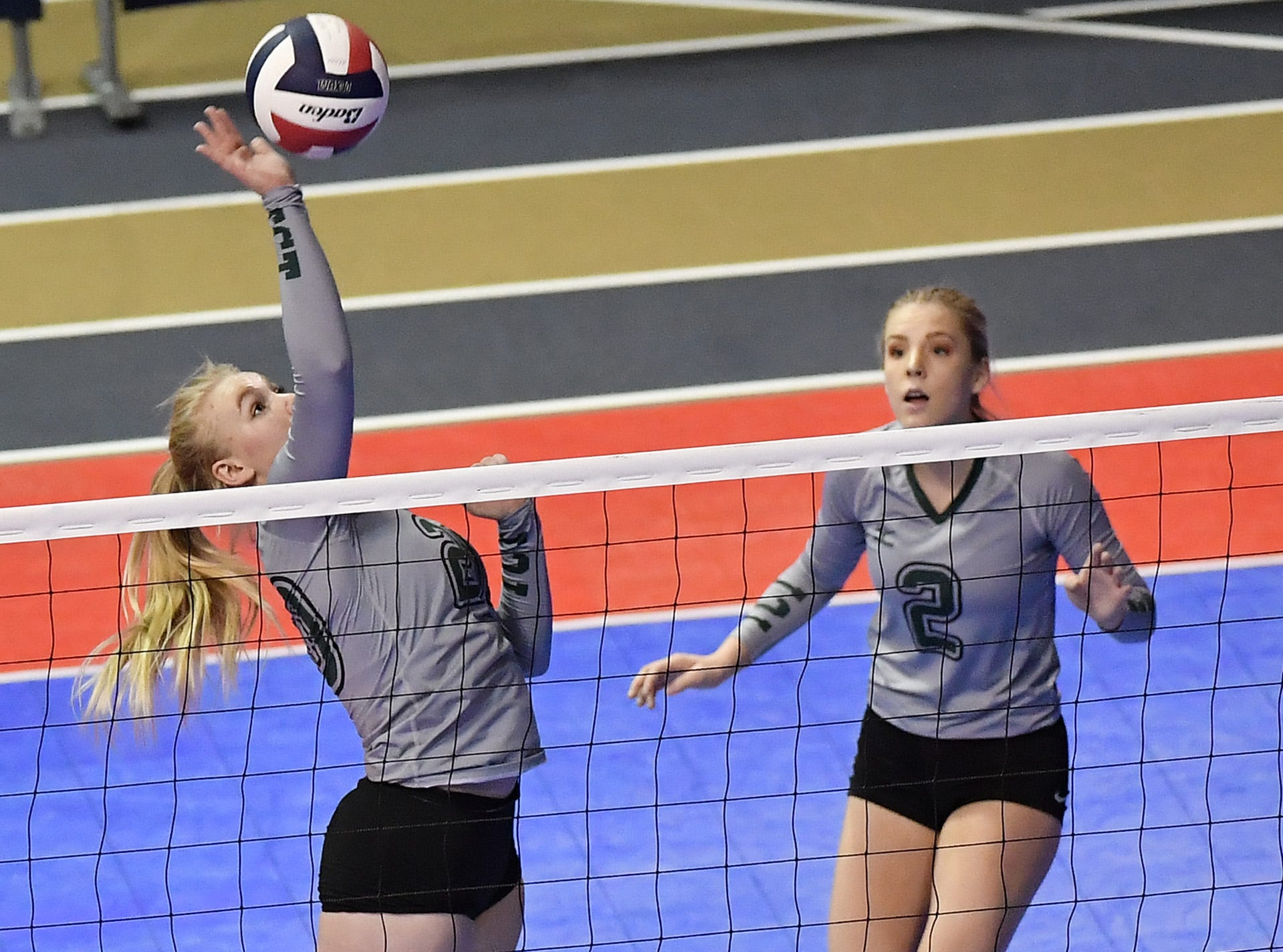 Sierra Stahl of Tri-Cities makes a play in a match with Scobey at the All-Class State Volleyball Tournament at the Brick Breeden Fieldhouse in Bozeman Friday.