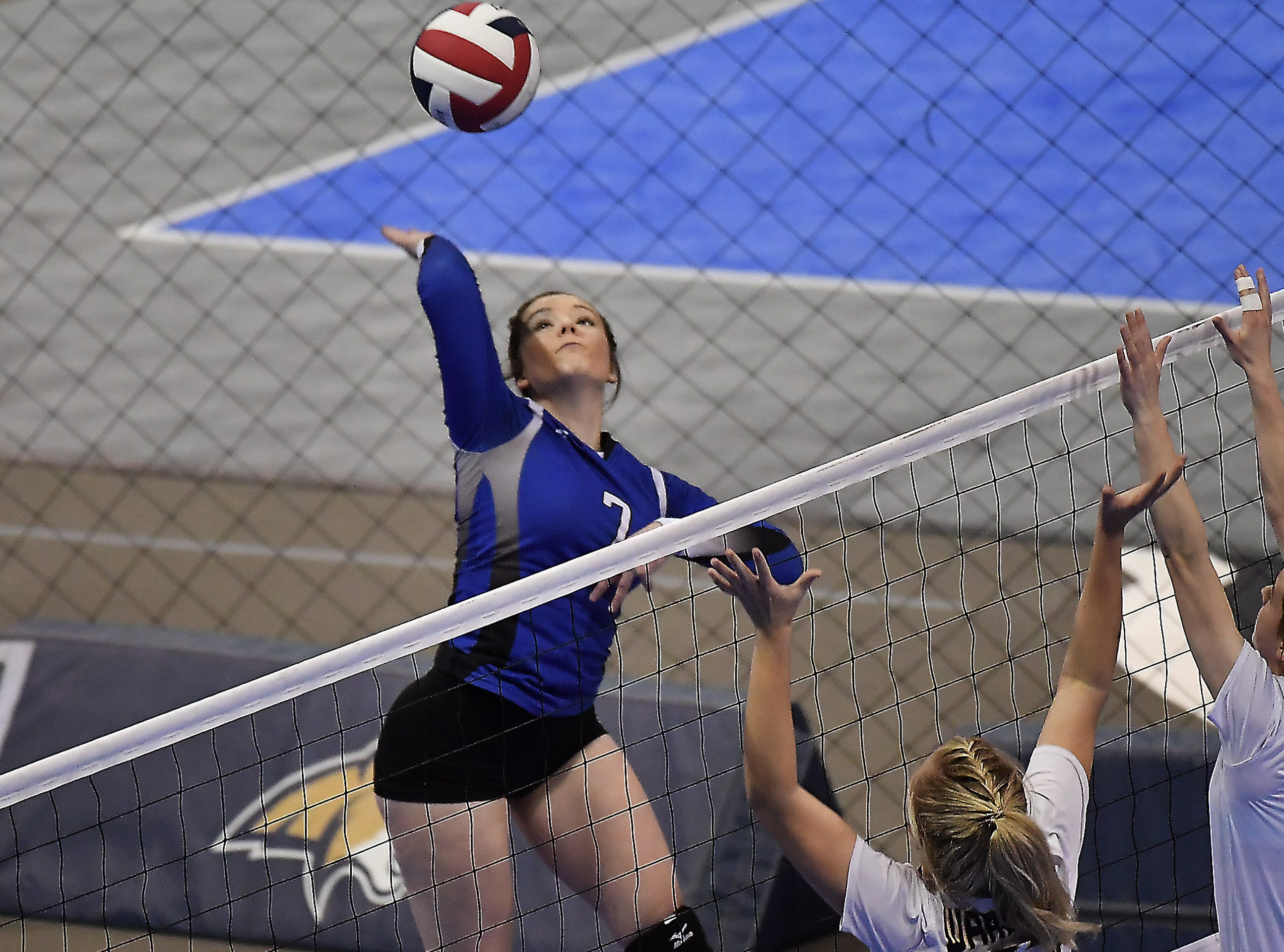 Fairfield's Cheyenne Maddox spikes the ball against Deer Lodge at the All-Class State Volleyball Tournament at the Brick Breeden Fieldhouse in Bozeman.