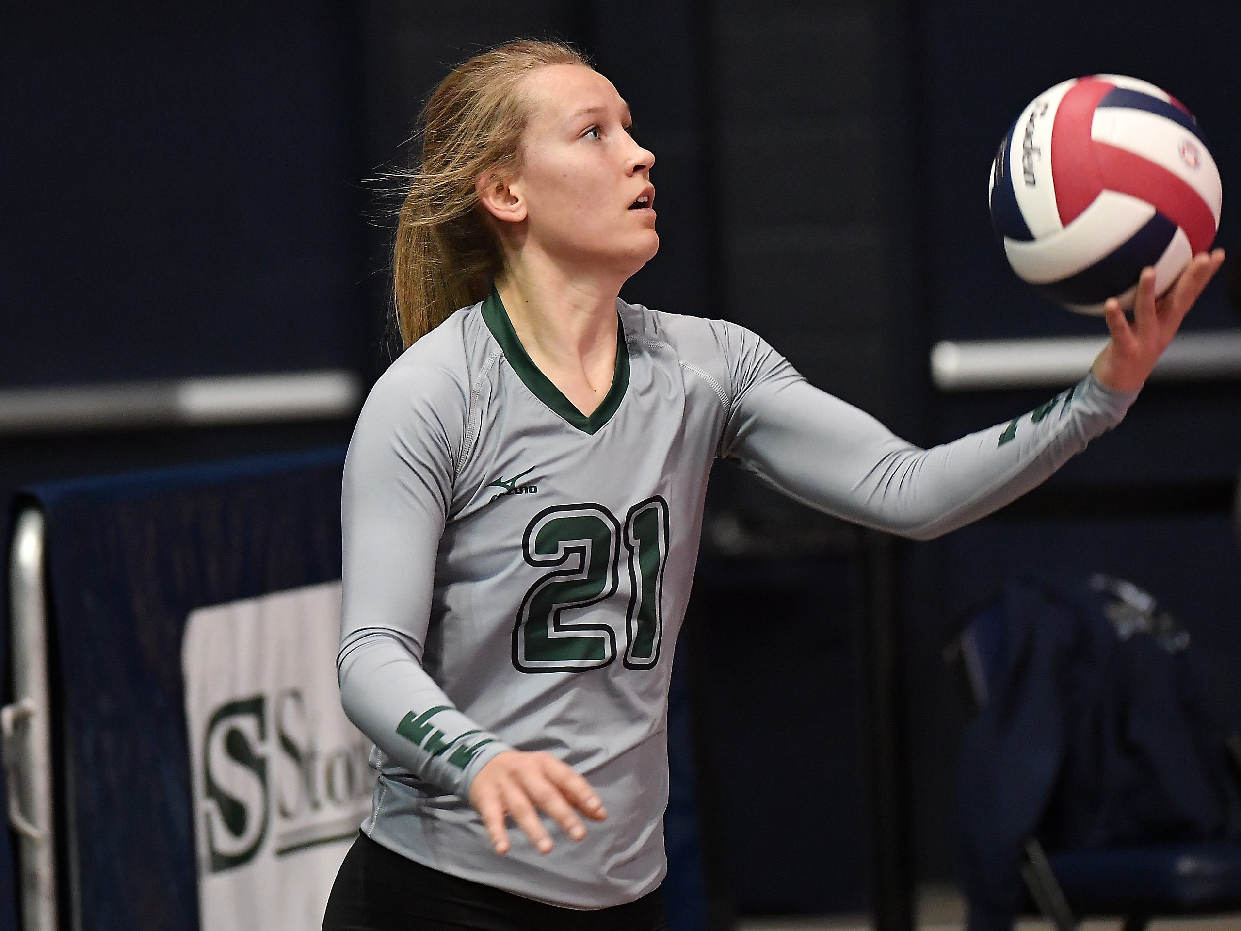 Sami Connerton of Tri-Cities serves during a match with Scobey at the All-Class State Volleyball Tournament at the Brick Breeden Fieldhouse in Bozeman Friday.