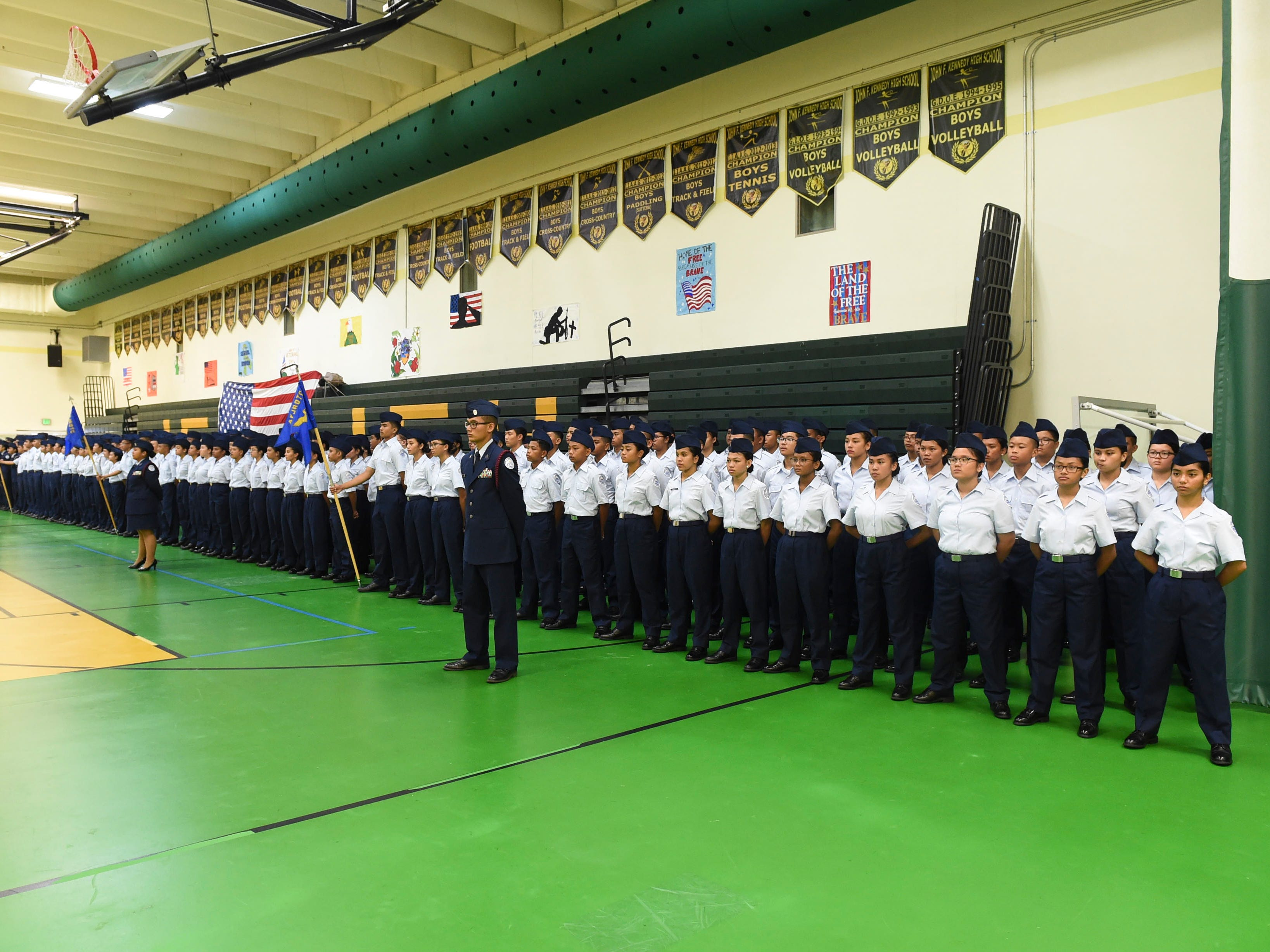 Members of the John F. Kennedy High School Air Force Junior ROTC team during the JFK High School Veterans Recognition Ceremony, Nov. 9, 2018.