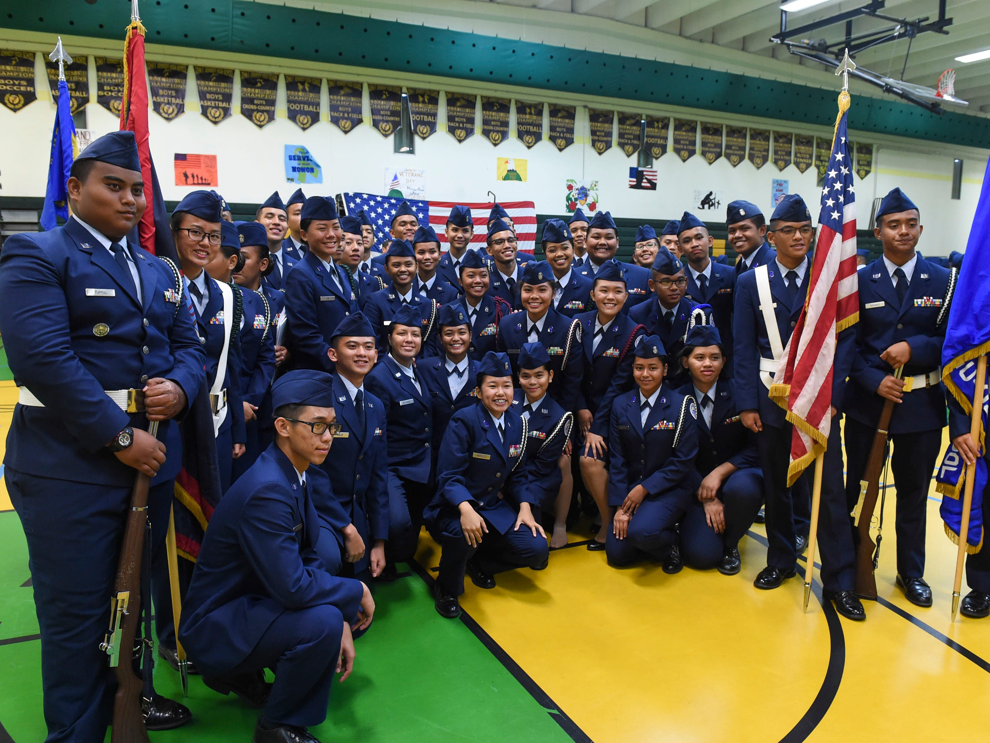 John F. Kennedy High School Air Force Junior ROTC cadets after the JFK High School Veterans Recognition Ceremony, Nov. 9, 2018.