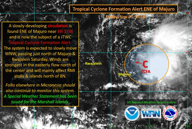 A tropical disturbance is being monitored