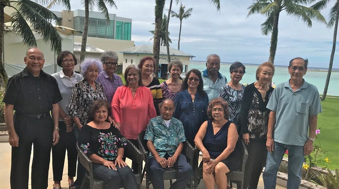 The GWHS class of 1962 held its luncheon at the World Cafe, Fiesta Resort on November 8.  Seated from lefy: Dorothy Perez, Felix Babauta, and Terry Contreras.  Standing from left: Pete Babauta, Sylvia Taitano, Margaret Hildebrande, Rita Salas, Fely Sablan, Juanita Ulloa, Annie Rabe, Trini Chargualaf, Woody Concepcion, Marietta Camacho, Maria Pablo, and Frank Alig.