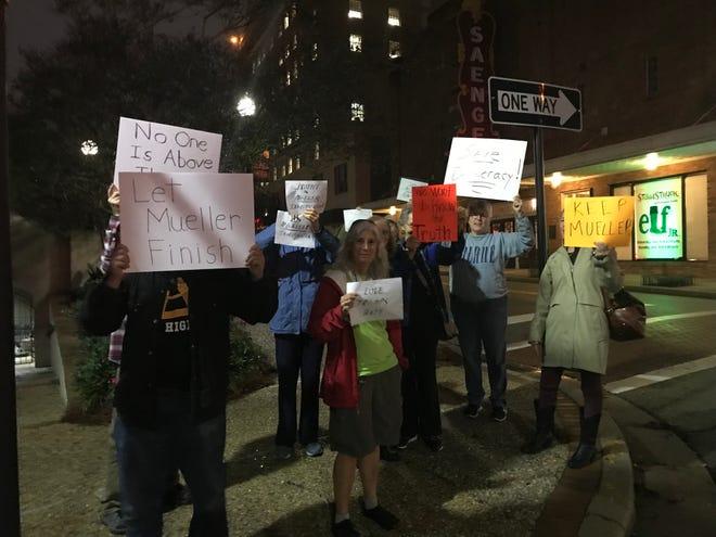 Protesters rally outside Hattiesburg City Hall on Thursday, Nov. 8, 2018.