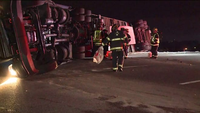 A semi carrying 40,000 pounds of Hormel ham products overturned on I 65  around 2:30 a.m. Friday, according to Fox59.