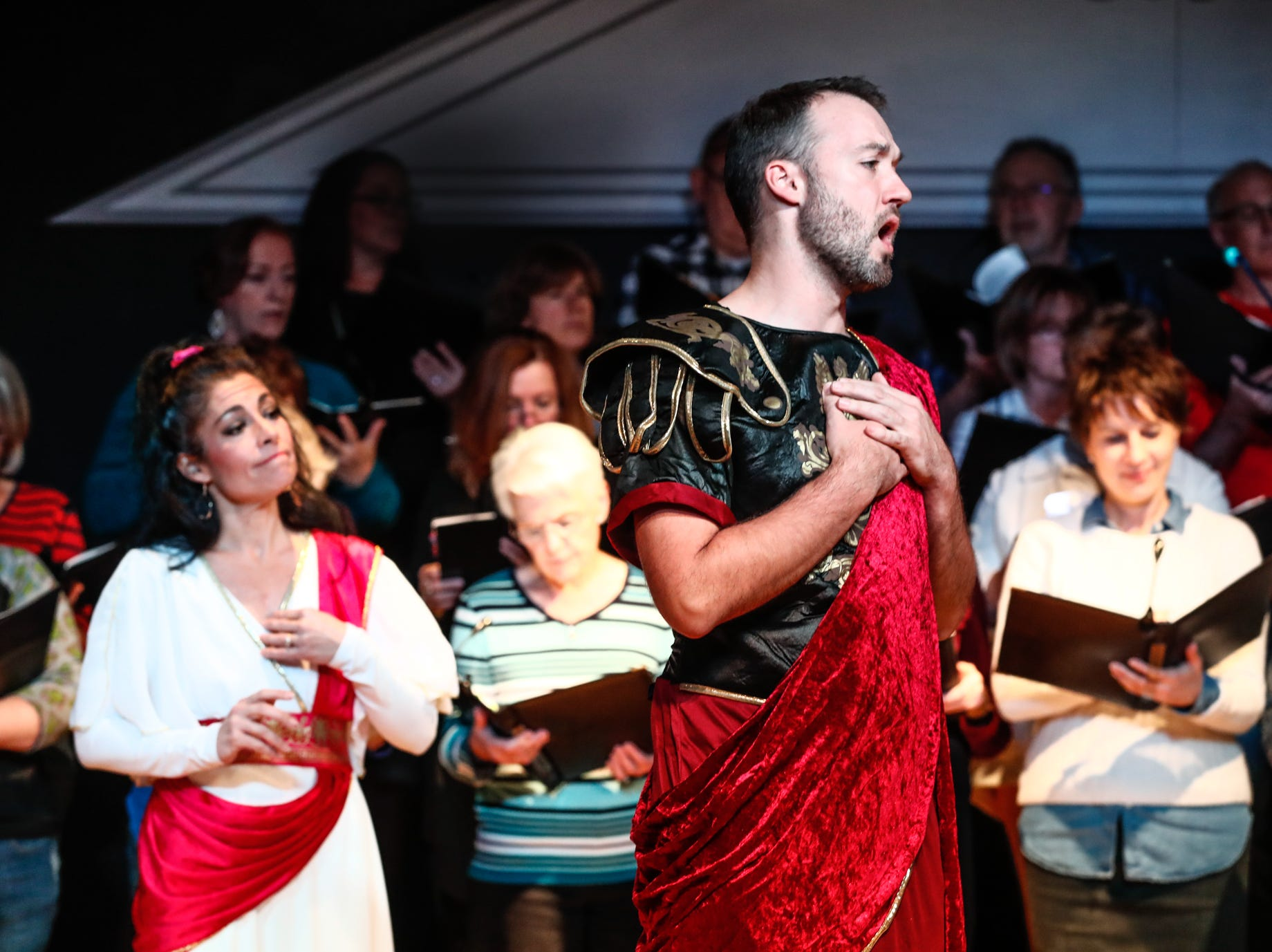 Heather Glover plays the bart of Belinda, left, and Sean Manterfield plays the part of Aeneas during a Fishers Music Works' Projekt: Opera rehearsal for Dido & Aeneas, at Ji-Eun Lee Music Academy in Fishers Ind. on Thursday Nov. 1, 2018.