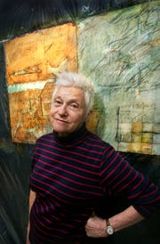 """Lois Main Templeton, shown here in 2007, stood in front of her work, """"Come Summer,"""" a two-panel diptych."""