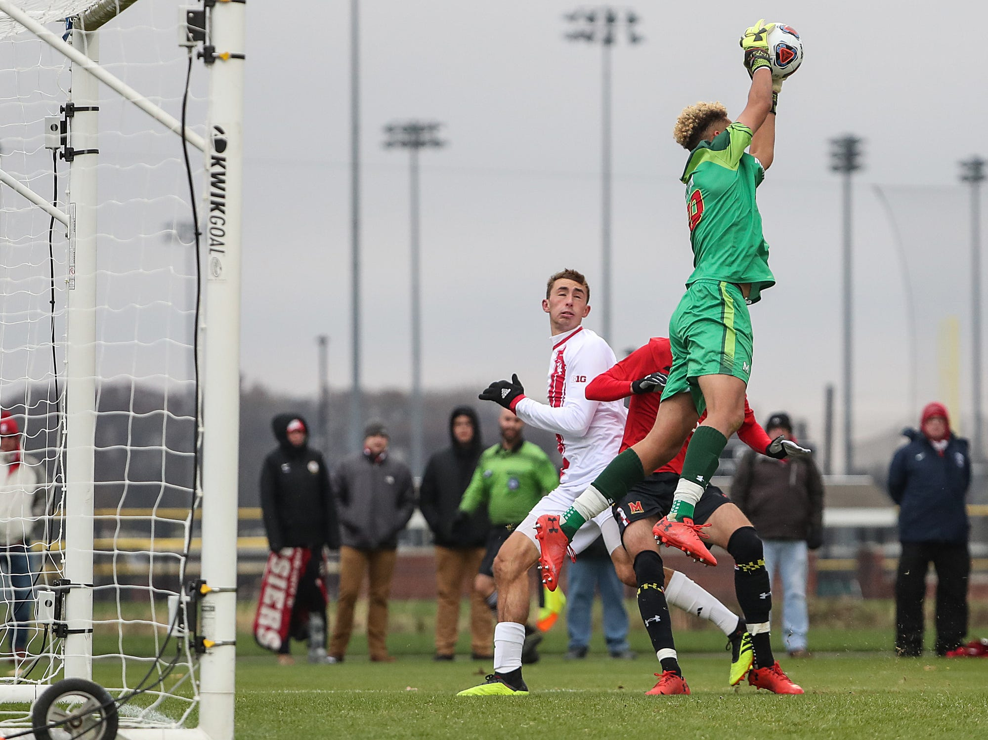 Maryland Terrapins goalkeeper Dayne St. Clair (99) stops a corner kick by the Hoosiers during the first half of Big Ten semifinals at Grand Park in Westfield, Ind., Friday, Nov. 9, 2018. Indiana and Maryland tied 1-1, with the Hoosiers advancing in penalty kicks, 4-3.