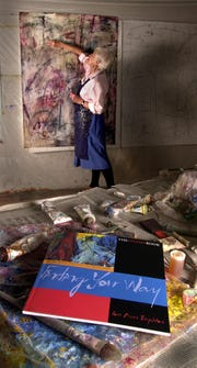 Artist Lois Main Templeton sketched on a work in progress in her studio at the Murphy Art Center in Fountain Square.