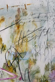 This is a detail of a painting by Indianapolis abstract artist Lois Main Templeton, whose work comprised layers of painted images and text.