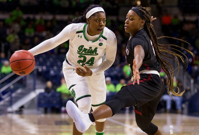 Notre Dame's Arike Ogunbowale (24) looks to pass around Harvard's Sydney Skinner during the first half of an NCAA college basketball game Friday, Nov. 9, 2018, in South Bend, Ind.