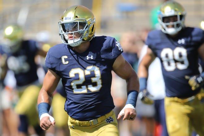 Notre Dame Fighting Irish linebacker Drue Tranquill (23)