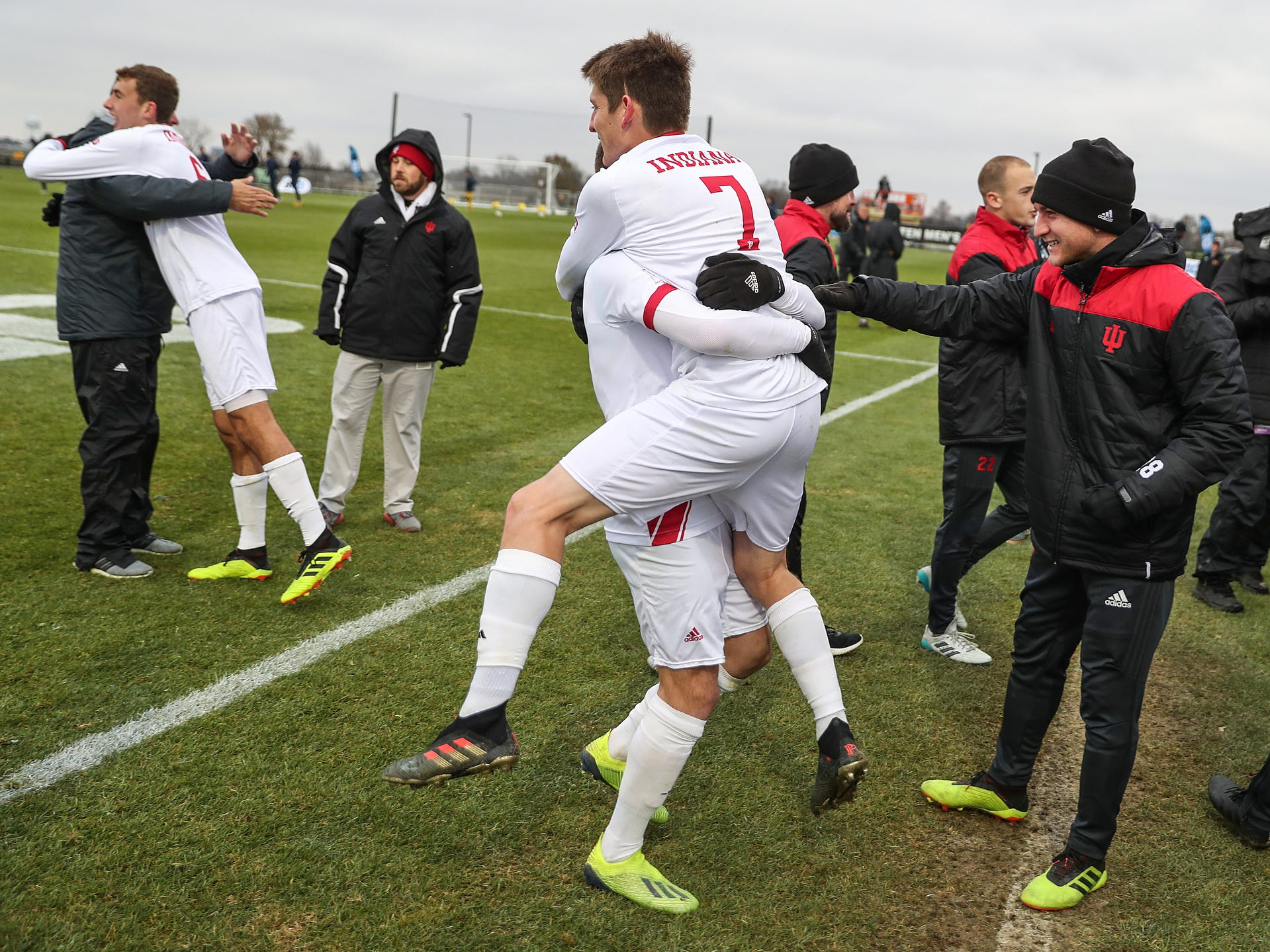 The Indiana Hoosiers celebrate defeating the Maryland Terrapins in Big Ten semifinals at Grand Park in Westfield, Ind., Friday, Nov. 9, 2018. Indiana and Maryland tied 1-1, with the Hoosiers clinching the win in penalty kicks, 4-3.