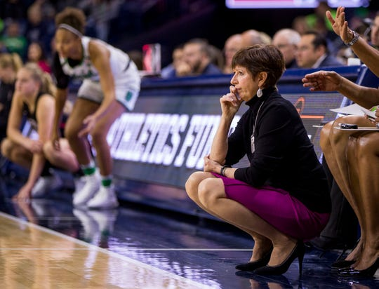 Notre Dame head coach Muffet McGraw looks on during the second half of an NCAA college basketball game against Harvard, Friday, Nov. 9, 2018, in South Bend, Ind. Notre Dame won 103-58. (AP Photo/Robert Franklin)