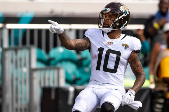 Former Colts receiver Donte Moncrief has 29 catches for 379 yards and two touchdowns in his first eight games with the Jags.
